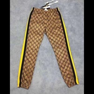Authentic Brown Gucci Striped Lounge Pants